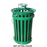 """Witt Industries M3601SD-AT-SLV Oakley Basic Slatted Metal Waste Receptacle with Slide Door and Ash Urn Lid - 36 Gallon Capacity - 28"""" Dia. x 47 1/4"""" H - Silver in Color"""
