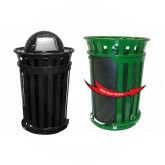 """Witt Industries M3601SD-DT-BK Oakley Basic Slatted Metal Waste Receptacle with Slide Door and Dome Top Lid - 36 Gallon Capacity - 28"""" Dia. x 48 1/2"""" H - Black in Color"""