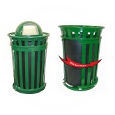 """Witt Industries M3601SD-DT-GN Oakley Basic Slatted Metal Waste Receptacle with Slide Door and Dome Top Lid - 36 Gallon Capacity - 28"""" Dia. x 48 1/2"""" H - Green in Color"""