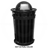 """Witt Industries M3601SD-DT-SLV Oakley Basic Slatted Metal Waste Receptacle with Slide Door and Dome Top Lid - 36 Gallon Capacity - 28"""" Dia. x 48 1/2"""" H - Silver in Color"""