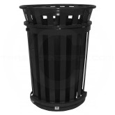 """Witt Industries M3601SD-FT-BK Oakley Basic Slatted Metal Waste Receptacle with Slide Door and Flat Top Lid - 36 Gallon Capacity - 28"""" Dia. x 39 1/4"""" H - Black in Color"""