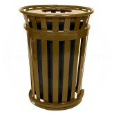 """Witt Industries M3601SD-FT-BN Oakley Basic Slatted Metal Waste Receptacle with Flat Top Lid - 36 Gallon Capacity - 28"""" Dia. x 39 1/4"""" H - Brown in Color"""