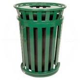 """Witt Industries M3601SD-FT-GN Oakley Basic Slatted Metal Waste Receptacle with Flat Top Lid - 36 Gallon Capacity - 28"""" Dia. x 39 1/4"""" H - Green in Color"""