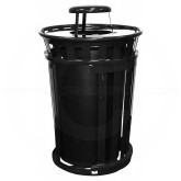 """Witt Industries M3601SD-RC-BK Oakley Basic Slatted Metal Waste Receptacle with Slide Door and Rain Cap Lid - 36 Gallon Capacity - 28"""" Dia. x 47 1/4"""" H - Black in Color"""