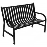 "Witt Industries M4-BCH-BK Oakley Collection Slatted Metal Bench - 48"" W x 24"" D x 34"" H - Black in Color"