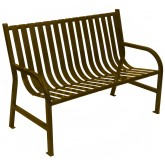 "Witt Industries M4-BCH-BN Oakley Collection Slatted Metal Bench - 48"" W x 24"" D x 34"" H - Brown in Color"