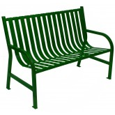 "Witt Industries M4-BCH-GN Oakley Collection Slatted Metal Bench - 48"" W x 24"" D x 34"" H - Green in Color"