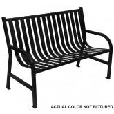 "Witt Industries M4-BCH-SLV Oakley Collection Slatted Metal Bench - 48"" W x 24"" D x 34"" H - Silver in Color"