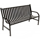 "Witt Industries M5-BCH-BK Oakley Collection Slatted Metal Bench - 60"" W x 24"" D x 34"" H - Black in Color"