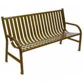 "Witt Industries M5-BCH-BN Oakley Collection Slatted Metal Bench - 60"" W x 24"" D x 34"" H - Brown in Color"