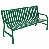 "Witt Industries M5-BCH-GN Oakley Collection Slatted Metal Bench - 60"" W x 24"" D x 34"" H - Green in Color"