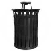 "Witt Industries M5001-AT-BK Oakley Basic Slatted Metal Waste Receptacle with Ash Urn Lid - 50 Gallon Capacity - 28"" Dia. x 44 1/4"" H - Black in Color"