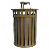 "Witt Industries M5001-AT-BN Oakley Basic Slatted Metal Waste Receptacle with Ash Urn Lid - 50 Gallon Capacity - 28"" Dia. x 44 1/4"" H - Brown in Color"