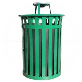 "Witt Industries M5001-AT-GN Oakley Basic Slatted Metal Waste Receptacle with Ash Urn Lid - 50 Gallon Capacity - 28"" Dia. x 44 1/4"" H - Green in Color"