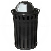 "Witt Industries M5001-DT-BK Oakley Basic Slatted Metal Waste Receptacle with Dome Top Lid - 50 Gallon Capacity - 28"" Dia. x 44 1/4"" H - Black in Color"