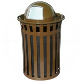 "Witt Industries M5001-DT-BN Oakley Basic Slatted Metal Waste Receptacle with Dome Top Lid - 50 Gallon Capacity - 28"" Dia. x 44 1/4"" H - Brown in Color"