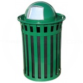 "Witt Industries M5001-DT-GN Oakley Basic Slatted Metal Waste Receptacle with Dome Top Lid - 50 Gallon Capacity - 28"" Dia. x 44 1/4"" H - Green in Color"