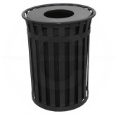 "Witt Industries M5001-FT-BK Oakley Basic Slatted Metal Waste Receptacle with Flat Top Lid - 50 Gallon Capacity - 28"" Dia. x 36"" H - Black in Color"