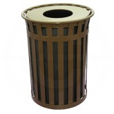 "Witt Industries M5001-FT-BN Oakley Basic Slatted Metal Waste Receptacle with Flat Top Lid - 50 Gallon Capacity - 28"" Dia. x 36"" H - Brown in Color"