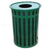 "Witt Industries M5001-FT-GN Oakley Basic Slatted Metal Waste Receptacle with Flat Top Lid - 50 Gallon Capacity - 28"" Dia. x 36"" H - Green in Color"