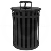 "Witt Industries M5001-RC-BK Oakley Basic Slatted Metal Waste Receptacle with Rain Cap Lid - 50 Gallon Capacity - 28"" Dia. x 44 1/4"" H - Black in Color"