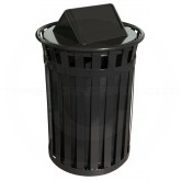 "Witt Industries M5001-SWT-BK Oakley Basic Slatted Metal Waste Receptacle with Swing Top Lid - 50 Gallon Capacity - 28"" Dia. x 44 1/4"" H - Black in Color"