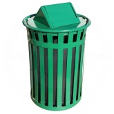 "Witt Industries M5001-SWT-GN Oakley Basic Slatted Metal Waste Receptacle with Swing Top Lid - 50 Gallon Capacity - 28"" Dia. x 44 1/4"" H - Green in Color"