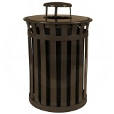 "Witt Industries M5001-RC-BN Oakley Basic Slatted Metal Waste Receptacle with Rain Cap Lid - 50 Gallon Capacity - 28"" Dia. x 44 1/4"" H - Brown in Color"