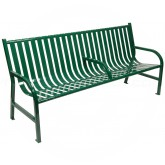 "Witt Industries M6-BCH-ARM-GN Oakley Collection Slatted Metal Bench with Center Arm Rest - 72"" W x 24"" D x 34"" H - Green in Color"