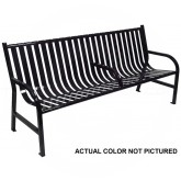 "Witt Industries M6-BCH-ARM-SLV Oakley Collection Slatted Metal Bench with Center Arm Rest - 72"" W x 24"" D x 34"" H - Silver in Color"