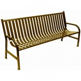 "Witt Industries M6-BCH-BN Oakley Collection Slatted Metal Bench - 72"" W x 24"" D x 34"" H - Brown in Color"