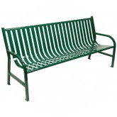 "Witt Industries M6-BCH-GN Oakley Collection Slatted Metal Bench - 72"" W x 24"" D x 34"" H - Green in Color"