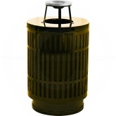 "Witt Industries MAS40P-AT-BN Mason Collection Trash Can with Ash Top Lid - 40 Gallon Capacity - 24"" Dia. x 42.85"" H - Brown in Color"