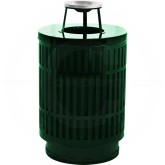 "Witt Industries MAS40P-AT-GN Mason Collection Trash Can with Ash Top Lid - 40 Gallon Capacity - 24"" Dia. x 42.85"" H - Green in Color"