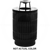 "Witt Industries MAS40P-AT-SLV Mason Collection Trash Can with Ash Top Lid - 40 Gallon Capacity - 24"" Dia. x 42.85"" H - Silver in Color"