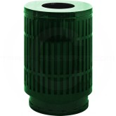 "Witt Industries MAS40P-FT-GN Mason Collection Trash Can with Flat Top Lid - 40 Gallon Capacity - 24"" Dia. x 34 5/8"" H - Green in Color"