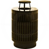 "Witt Industries MAS40P-RC-BN Mason Collection Trash Can with Rain Cap - 40 Gallon Capacity - 24"" Dia. x 42.85"" H - Brown in Color"