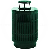 "Witt Industries MAS40P-RC-GN Mason Collection Trash Can with Rain Cap - 40 Gallon Capacity - 24"" Dia. x 42.85"" H - Green in Color"