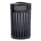 """Rubbermaid MH24 Avenue Series Small Open Top Trash Can - 24 Gallon Capacity - 20 1/2"""" Dia. x 33 1/2"""" H - Disposal Opening is 9"""" Dia."""