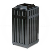 "Rubbermaid MHSQ18 Avenue Series Square Open Top Trash Can - 16 Gallon Capacity - 16"" Sq. x 32 1/2"" H - Disposal Opening is 8"" Sq."