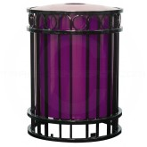 "Witt Industries MIA26-FT Miami Collection Outdoor Receptacle - 36 Gallon Capacity - 26.6"" Dia. x 36"" H - Your choice of color"