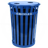 "Witt Industries MR36-FTR Oakley Recycling Receptacle with Flat Top Lid - 36 Gallon Capacity - 28"" Dia. x 36"" H - Blue in Color"