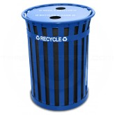 "Witt Industries MR50-FTR-BL Oakley Recycling Receptacle with Flat Top Lid - 50 Gallon Capacity - 28"" Dia. x 36"" H - Blue in Color"