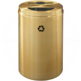 "Glaro MT2032BE Recycle Pro 2 Recycling Can with Mixed Recycling Slot and Half Round Opening - 33 Gallon Capacity - 20"" Dia. x 31"" H - Satin Brass"