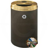 """Glaro MT2032 Recycle Pro 2 Recycling Can with Mixed Recycling Slot and Half Round Opening - 33 Gallon Capacity - 20"""" Dia. x 31"""" H - Your choice of color"""