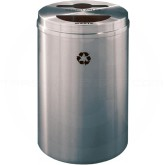 "Glaro MT2032SA Recycle Pro 2 Recycling Can with Mixed Recycling Slot and Half Round Opening - 33 Gallon Capacity - 20"" Dia. x 31"" H - Satin Aluminum"