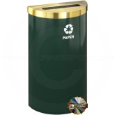 "Glaro P1899VHGSA RecyclePro Value Half Round Container with Slotted Lid - 16 Gallon Capacity - 30"" H x 18"" W x 9"" D - Hunter Green with Satin Brass Top"