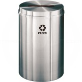 "Glaro P2032SA Recycle Pro 1 Paper Recycling Container - 33 Gallon Capacity - 20"" Dia. x 31"" H - Satin Aluminum"