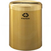 "Glaro P2042BE RecyclePro Single Unit Recycling Container with Single Purpose Slot - 41 Gallon Capacity - 20"" Dia. x 30"" H - Satin Brass"
