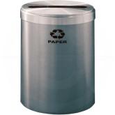 "Glaro P2042SA RecyclePro Single Unit Recycling Container with Single Purpose Slot - 41 Gallon Capacity - 20"" Dia. x 30"" H - Satin Aluminum"